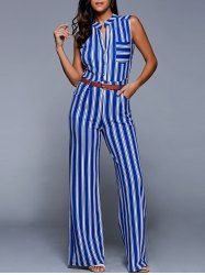 SHARE & Get it FREE | Plunging Neck Sleeveless Wide Leg Belted Striped JumpsuitFor Fashion Lovers only:80,000+ Items • New Arrivals Daily • Affordable Casual to Chic for Every Occasion Join Sammydress: Get YOUR $50 NOW!