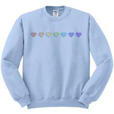 Pride hearts sweatshirt, gay pride, pride shirt, pride rainbow, lgbt... ($21) ❤ liked on Polyvore featuring tops, hoodies, sweatshirts, pastel sweatshirt, shirt top, blue sweatshirt, pastel blue shirt and rainbow shirt