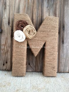 Items similar to Handmade Monogram/ Personalized Jute Yarn wrapped letter wreath on Etsy Yarn Wrapped Letters, Yarn Letters, Wooden Letters, Flower Letters, Crafts To Sell, Diy And Crafts, Crafts For Kids, Burlap Crafts, Yarn Crafts