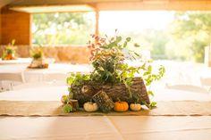 Wood Wedding Centerpiece With Pumpkins