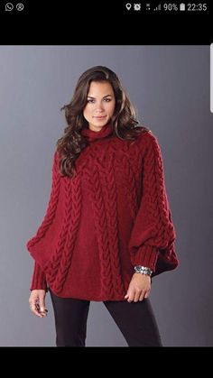 I'd love to make this Mary Maxim Cabled Poncho Crochet Mittens Pattern, Poncho Knitting Patterns, Crochet Poncho, Baby Knitting, Poncho With Sleeves, Ladies Poncho, Clothes, Red Wine, Fashion Accessories