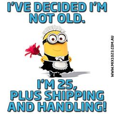 I'm 25 Plus Sgipping And Handling funny quotes quote funny quote funny quotes funny sayings age humor minion minions minion quotes Minion Jokes, Minions Quotes, Funny Minion, Minion Sayings, Cartoon Jokes, Minion Pictures, Funny Pictures, Funny Pics, Dog Pictures