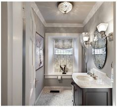 Love this bathroom color! It's Rockport Gray by Benjamin Moore. Rockport is such a fantastic neutral!