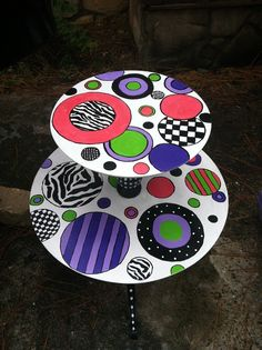 Funky Hand Painted Furniture | Fun-Furniture House / Vintage Whimsical Funky hand painted wood two ...