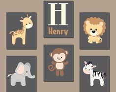 HIPSTER Wald Tiere Wand-Kunst Baby Boy Kinderzimmer von TRMdesign