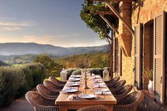 Love this!  A perfect, intimate setting for hosting 8-10 friends at a dinner soirée.  An opportunity to enjoy a beautiful view & sunset is a PLUS!  (in this case, it's under the Tuscan sun :)