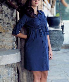 Love this Ebru Navy Maternity Button-Up Shirt Dress - Plus Too on #zulily! #zulilyfinds