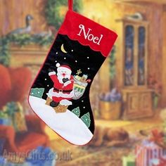 AmysGifts.co.uk Personalised Christmas Stocking - Navy & Wine Velvet 19 inch stocking with embroidered name in white thread.