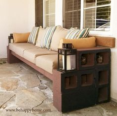DIY: Outdoor seating (with instructions). With basically cinder blocks, 4x4 lumber, and pillows.: