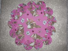 Cute Flower Bunny Easter Yo Yo Doily Candle Mat  by SursyShop, $8.00