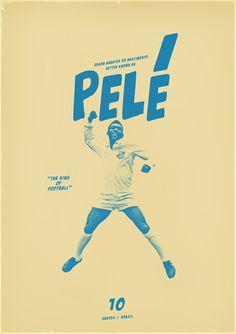 "poster / affiche ""Pelé"" by Zoran Lucić (Bosnia and Herzegovinia) Poster Football, Soccer Poster, Retro Football, Football Design, Football Art, Vintage Football, Sports Graphic Design, Graphic Design Typography, Sport Design"