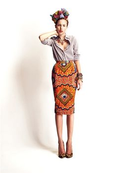 Love this skirt with a tucked in neutral button down shirt. just not keen on leopard print pumps with that skirt.