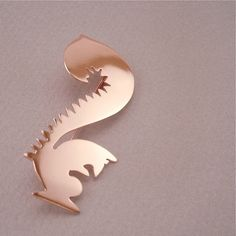 shiny Squirrely Squirrel pin copper jewelry brooch - deco - autumn, by MetalObjects