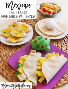 Sweet Treats – My FREE Felt Food Patterns! – At Home With Natalie We LOVE Mexican food so it only seemed fitting that we added some Mexican Felt Food to the kids' play kitchen! Grab my Printable patterns! Felt Crafts Diy, Food Crafts, Felt Diy, Diy Food, Cardboard Crafts, Fabric Crafts, Easy Crafts, Paper Crafts, Felt Patterns Free