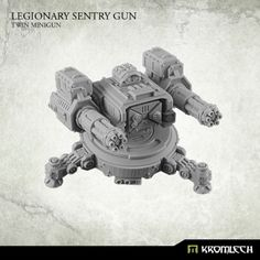 This set contains one Legionary Sentry Gun armed with Twin Minigun. Designed to fit futuristic 28mm heroic scale. This model is approximately 32mm height [without mechanical legs] from the bottom of the base to the top of optical sensor. Turret is mounted at ring which diameter is 26mm and fits top hatch of APC. Tripod diameter is approximately 36mm [without mechanical legs].