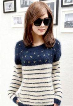 Fashion stripe wool women sweater sea anchor
