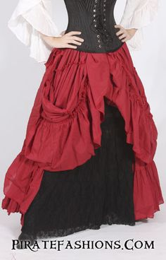 Here be arrrr most elegant full skirt fer ladies of proper breeding or those who steal from them. This skirt be amazing, it will help make the most of yar hour glass figure when worn with a corset. Adult Pirate Costume, Pirate Dress, Pirate Cosplay, Pirate Costumes, Pirate Outfits, Pirate Garb, Renaissance Costume, Medieval Costume, Steampunk Vetements