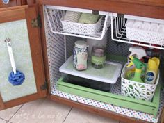 <p>This homeowner spruced up her under-sink cabinet—all too often a dark space—with bright and cheer... - craftsalamode.com