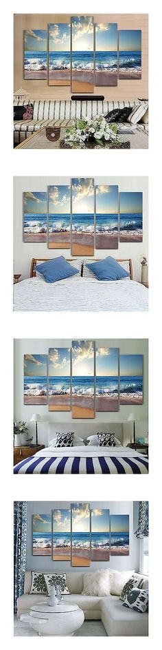 Posters and Prints 41511: Modern Landscape Painting On Canvas 5 Piece Beach Ocean Pictures Wall Art For... -> BUY IT NOW ONLY: $82.77 on eBay!