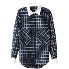 Double-pockets Grid Print Md-long Shirt ($26) ❤ liked on Polyvore featuring tops, long blue shirt, blue top, long length shirts and long shirts