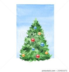 Image result for christmas tree watercolor paintings