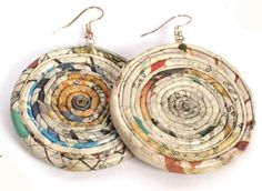 £6.00 These recycled newspaper disc earrings have been handmade by Fair Trade artisans in India - the perfect eco gift for the ethical shopper!