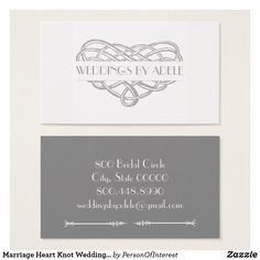 Marriage Heart Knot Wedding Planner Business Cards Elegant Zazzle