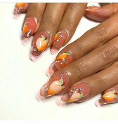 Decorating your nails is a lot of fun. It will make a fashion statement. Check out the newest trends and designs to keep you up to date. Peach Nail Art, Peach Nails, Rose Nails, Toe Nail Art, Acrylic Nails, Diy Nails, Swag Nails, Different Nail Designs, Gel Color