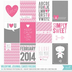 2014 Free Valentine Cards for Project Life and/or all other forms of journaling