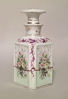 French Victorian accessories vanity item/perfume bottle porcelain