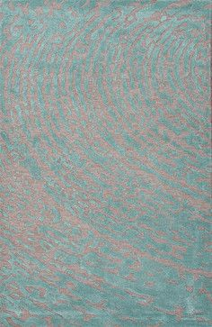 Wool Gray/Blue Daizy Cut & Loop Rectangle Area Rug Border Color Aruba Blue 2 x 3 - contemporary - Area Rugs - clickhere2shop