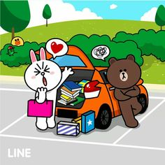 To the destination Cute Love Pictures, Cute Love Gif, Cony Brown, Brown Bear, Line Cony, Cute Couple Cartoon, Bunny And Bear, Line Friends, Line Sticker