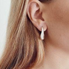 Cookie Silver Hoops (1)sm Silver Hoops, Cookie, Pearl Earrings, Pearls, Jewelry, Shop, Instagram, Biscuit, Pearl Studs