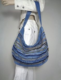 Denim bag summer slouchy hobo handbag purse recycled upcycled