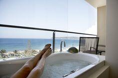 Deluxe Sea View Room Rhode Island, Hotels And Resorts, Corner Bathtub, Rooms, Sea, Luxury, Outdoor Decor, Home Decor, Bedrooms