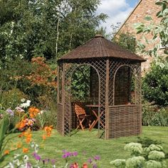 Beautiful Rustic Willow Garden Gazebo that would take pride of place in any outdoor space. Stunning wooden garden gazebos and pagodas from Westmount Living Wooden Garden Gazebo, Wooden Pergola, Curved Pergola, Steel Pergola, Garden Seating, Garden Buildings, Garden Structures, Outdoor Structures, Garden Architecture