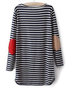 Blue Long Sleeve Striped Straight Dress pictures