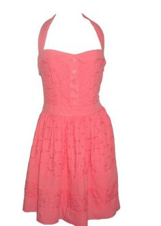M60 MISS SIXTY Missy Cotton Halter Summer Dress-CORAL-10 « Dress Adds Everyday