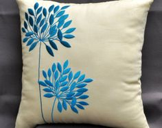 Items I Love by Adam on Etsy Pillow Embroidery, Embroidered Cushions, Embroidered Flowers, Silk Ribbon Embroidery, Hand Embroidery, Embroidery Designs, Embroidery Stitches, Teal Flowers, Teal Cushions