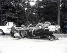 Accident #1107, May 15, 1958 Accident, one car, Stephens Creek. The Cleveland Studio, large format negative.