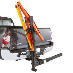 Hitch mounted crane folded up