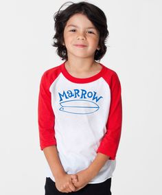 Surfari Kids White/Red/Blue Baseball Tee