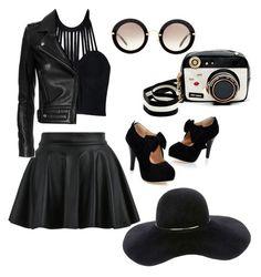 """black"" by amra-husejnovic ❤ liked on Polyvore featuring Miu Miu, Posh Girl, Betsey Johnson, IRO, Eugenia Kim, black and Leather"