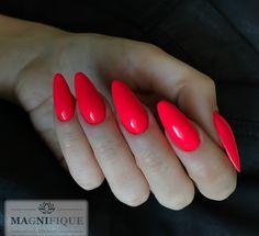Neon red nails Indigo