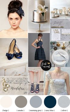 Metallic Wedding Palette { silver+navy blue },Metallic wedding ideas,silver and navy blue wedding color palette,metallic wedding color schemes,wedding shoes