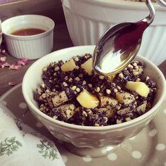 Jednoduchá maškrta v podobe pohánky s makom a jabĺčkom (recept) Baking Recipes, Acai Bowl, Sweet Treats, Pudding, Vegetarian, Ale, Cereal, Snacks, Vegan