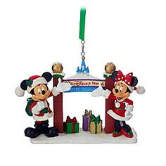 Santa Mickey and Minnie Mouse with Walt Disney World Arch Figural Ornament | Disney Store