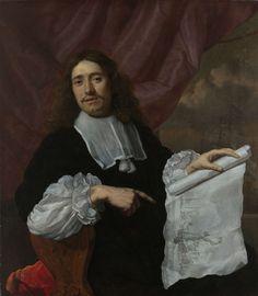 Lodewijk van der Helst | Portrait of the Painter Willem van de Velde II, Lodewijk van der Helst, 1660 - 1672 | Portret van de schilder Willem van de Velde II. De schilder is geportretteerd zittend in een stoel voor een gordijn, gedraaid naar de toeschouwer toe, met in de linkerhand een tekening van een zeeslag. Met de rechterhand wijst hij naar zijn signatuur op de tekening.