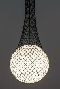Glass and fabric pendant #lamp NETWORK by Formagenda   #design Benjamin Hopf @formagendagmbh