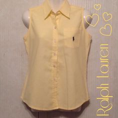 RL sleeveless button up EUC RL button up top. It's nice, cool (100% cotton). Can be paired with capris, jeans or shorts. It's an XL JUNIORS and can easily fit XS/S and possibly a Medium in women's. Ralph Lauren Tops Button Down Shirts
